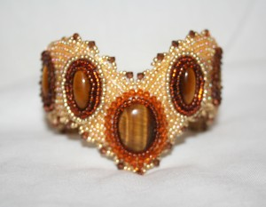 1 seed bead cuff gold brown honey gemstone Tigers Eye beaded  embroidery cabochon embroidered beads crystals weaving bracelet jewelry jewellery