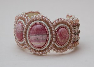 1 seed bead cuff white pink grey cream gemstone rhodochrosite beaded  embroidery cabochon embroidered beads crystals weaving bracelet jewelry jewellery