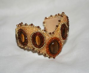 2 seed bead cuff gold brown honey gemstone Tigers Eye beaded  embroidery cabochon embroidered beads crystals weaving bracelet jewelry jewellery