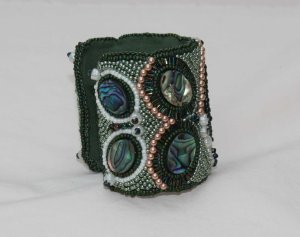 2 seed bead cuff green blue cream gemstone face abalone shell beaded  embroidery cabochon embroidered beads crystals weaving bracelet jewelry jewellery