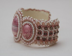 2 seed bead cuff white pink grey cream gemstone rhodochrosite beaded  embroidery cabochon embroidered beads crystals weaving bracelet jewelry jewellery