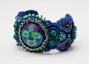 3 seed bead cuff blue red green face malachite embroidery embroidered beads crystals weaving bracelet jewelry jewellery