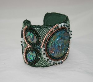 3 seed bead cuff green blue cream gemstone face abalone shell beaded  embroidery cabochon embroidered beads crystals weaving bracelet jewelry jewellery