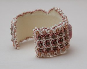 3 seed bead cuff white pink grey cream gemstone rhodochrosite beaded  embroidery cabochon embroidered beads crystals weaving bracelet jewelry jewellery