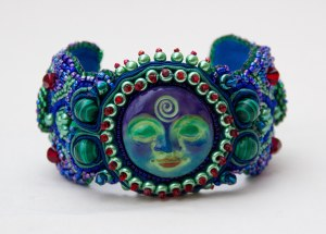 4 seed bead cuff blue red green face malachite embroidery embroidered beads crystals weaving bracelet jewelry jewellery