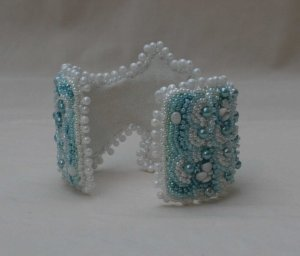 4 seed bead cuff white blue teal gemstone hemimorphite beaded  embroidery cabochon embroidered beads crystals weaving bracelet jewelry jewellery