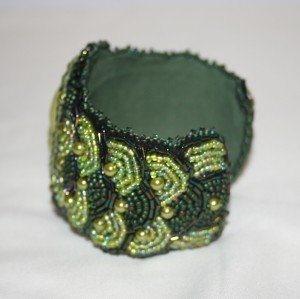 5 seed bead cuff olive green face embroidery embroidered beads crystals weaving bracelet jewelry jewellery