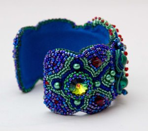 7 seed bead cuff blue red green face malachite embroidery embroidered beads crystals weaving bracelet jewelry jewellery