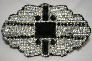 3 Art Deco Brooch Hairslide jewelry jewellery black silver crystal Swarovski Onyx beds beaded bead embroidery genstone cabochon 1920