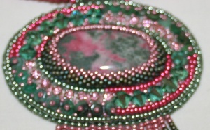 3 Thulite. Emeralds. gemstone. cabochon. beads. beaded. bead embroidery. green. pink. crystal. Swarovski. necklace. pendant. beadwork