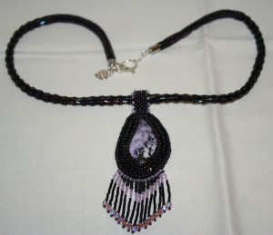 3 Tiffany Stone. Tiffany. necklace. pendant. gemstone. cabochon. purple. black. lilac. jewellery. jewelry. mineral. precious. beaded. bead embroidered. beads. crystal