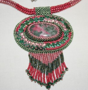 7 Thulite. Emeralds. gemstone. cabochon. beads. beaded. bead embroidery. green. pink. crystal. Swarovski. necklace. pendant. beadwork