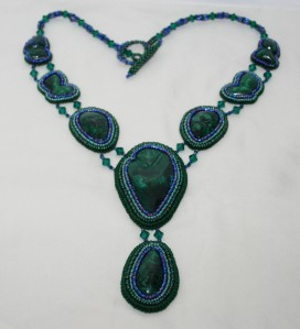1 Chatoyant, Malachite, gemstone, cabochon, green, blue, blac,k bead, beaded, embroidery, embroidered, statement, necklace, neckwear, seed beads, crystals, Swarovski
