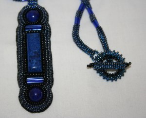 3 Lapis lazuli Shattuckite blue cabochons gemstones minerals beads beaded bead embroidered bead embroidery beadwork necklace pendant seed beads bugle beads toggle