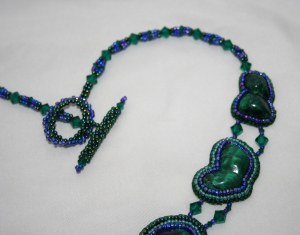 4 Chatoyant, Malachite, gemstone, cabochon, green, blue, blac,k bead, beaded, embroidery, embroidered, statement, necklace, neckwear, seed beads, crystals, Swarovski