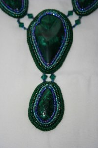 5 Chatoyant, Malachite, gemstone, cabochon, green, blue, blac,k bead, beaded, embroidery, embroidered, statement, necklace, neckwear, seed beads, crystals, Swarovski