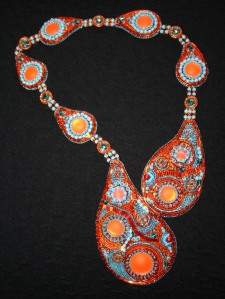 1. Necklace jewellery jewelry orange turquoise aquamarine cabochon seed beads bugle beads Swarovski crystals rivoli metallic Calypso Nights