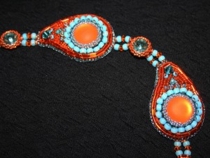 2. Necklace jewellery jewelry orange turquoise aquamarine cabochon seed beads bugle beads Swarovski crystals rivoli metallic Calypso Nights