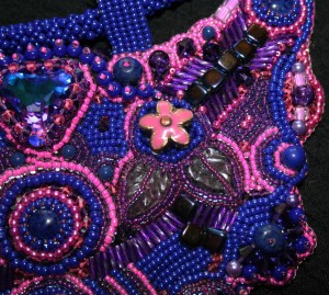 3. bead embroidered embroidery jewellery jewelry necklace bib gemstones Swarovski crystal seed beads amethyst lapis lazuli agate flowers