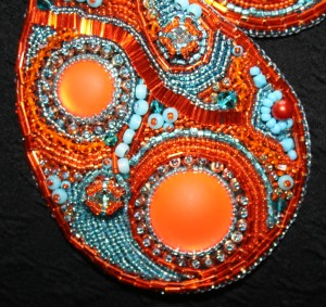 4. Necklace jewellery jewelry orange turquoise aquamarine cabochon seed beads bugle beads Swarovski crystals rivoli metallic Calypso Nights