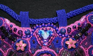 5. bead embroidered embroidery jewellery jewelry necklace bib gemstones Swarovski crystal seed beads amethyst lapis lazuli agate flowers