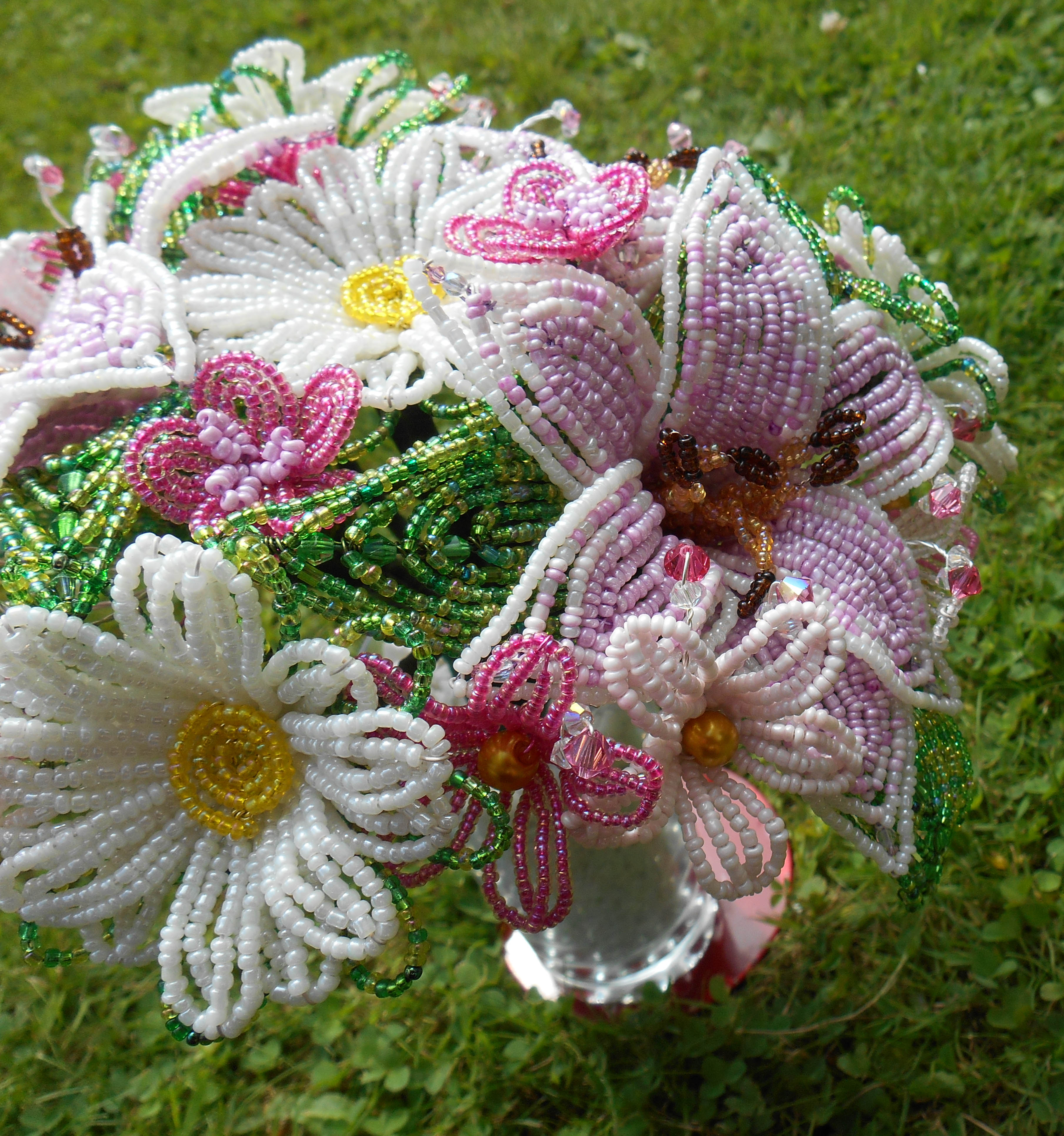 Gorgeous Pink And Cream French Beaded Lily Bouquet Epochbeadsuk