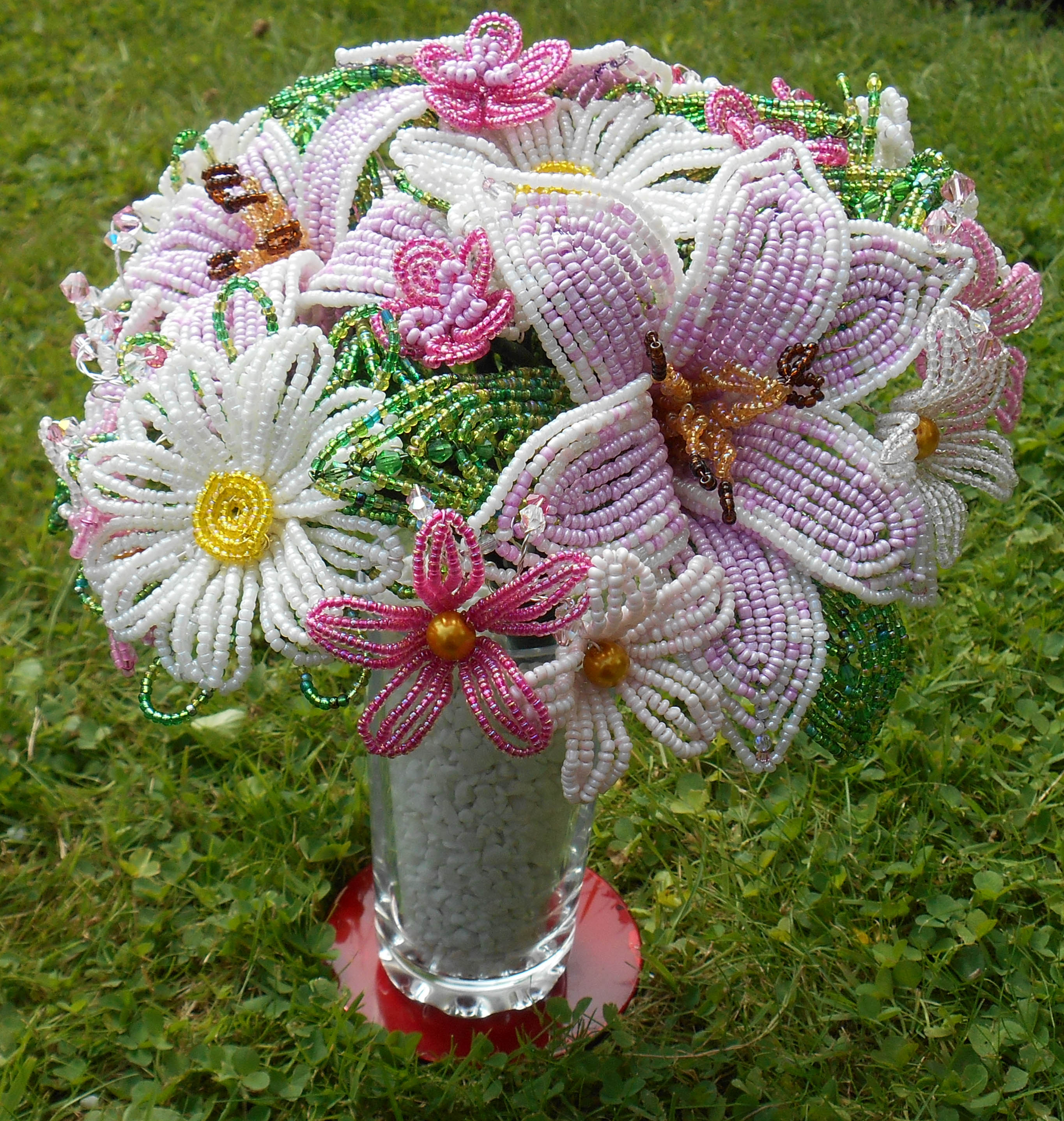 Gorgeous pink and cream french beaded lily bouquet epochbeadsuk well i am biased as i made it lol last year i went to a french beading class at stitchncraft beads in semley dorset with the lovely katie izmirmasajfo