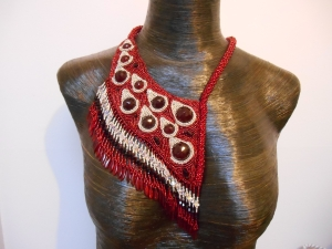 1 red Silver dark red jewellery jewelry necklace collar beaded bead embroidery bead weaving fringe rope cabochon glass seed beads faceted Matsuno crystals Swarovski dagger metal drops blood tears