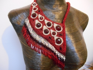 10 red Silver dark red jewellery jewelry necklace collar beaded bead embroidery bead weaving fringe rope cabochon glass seed beads faceted Matsuno crystals Swarovski dagger metal drops blood tears