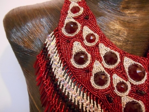 2 red Silver dark red jewellery jewelry necklace collar beaded bead embroidery bead weaving fringe rope cabochon glass seed beads faceted Matsuno crystals Swarovski dagger metal drops blood tears