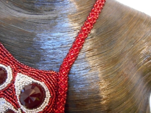 7 red Silver dark red jewellery jewelry necklace collar beaded bead embroidery bead weaving fringe rope cabochon glass seed beads faceted Matsuno crystals Swarovski dagger metal drops blood tears