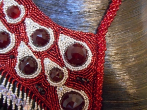8 red Silver dark red jewellery jewelry necklace collar beaded bead embroidery bead weaving fringe rope cabochon glass seed beads faceted Matsuno crystals Swarovski dagger metal drops blood tears