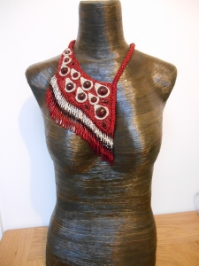 9 red Silver dark red jewellery jewelry necklace collar beaded bead embroidery bead weaving fringe rope cabochon glass seed beads faceted Matsuno crystals Swarovski dagger metal drops blood tears