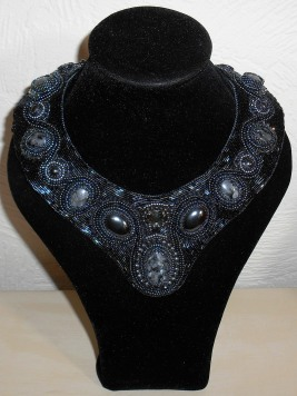 1 necklace jewellery jewelry collar larvikite hematite cabochon seed beads beaded embroidery glass Swarovski crystal bicones pearls bugle toggle black grey gray handmade