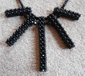 1 necklace jewellery jewelry pendant beads pearls seed beaded embroidery black glass Swarovski crystal bicones toggle handmade