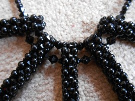 2 necklace jewellery jewelry pendant beads pearls seed beaded embroidery black glass Swarovski crystal bicones toggle handmade