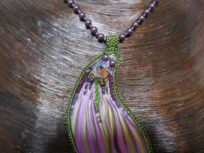 3 1 necklace jewellery jewelry pendant beads rope garnets cabochon seed beaded embroidery glass Swarovski crystal bicones pearls irridescent shibori silk purple green handmade