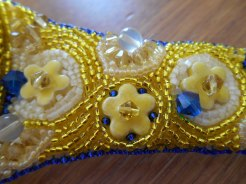 3 jewellery jewelry bracelet cuff beads beaded bead embroidery handmade yellow blue orange pink Swarovski crystal lemon quartz delicas ceramic flower flowers glass gold dichroic fused