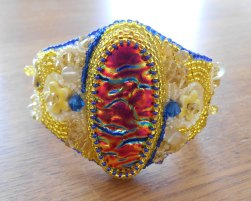 4 jewellery jewelry bracelet cuff beads beaded bead embroidery handmade yellow blue orange pink Swarovski crystal lemon quartz delicas ceramic flower flowers glass gold dichroic fused