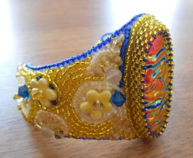 7 jewellery jewelry bracelet cuff beads beaded bead embroidery handmade yellow blue orange pink Swarovski crystal lemon quartz delicas ceramic flower flowers glass gold dichroic fused