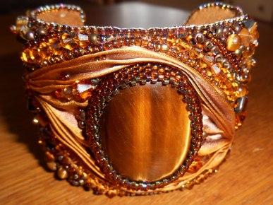 01 Cuff bracelet jewellery jewelry bead embroidery beaded Tiger's Eye gemstone cabochon beads glass crystals Swarovski gold brown bugle beads seed beads silk Shibori Czech brass