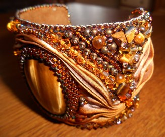 02 Cuff bracelet jewellery jewelry bead embroidery beaded Tiger's Eye gemstone cabochon beads glass crystals Swarovski gold brown bugle beads seed beads silk Shibori Czech brass