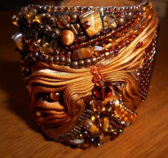 03 Cuff bracelet jewellery jewelry bead embroidery beaded Tiger's Eye gemstone cabochon beads glass crystals Swarovski gold brown bugle beads seed beads silk Shibori Czech brass