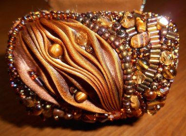 04 Cuff bracelet jewellery jewelry bead embroidery beaded Tiger's Eye gemstone cabochon beads glass crystals Swarovski gold brown bugle beads seed beads silk Shibori Czech brass