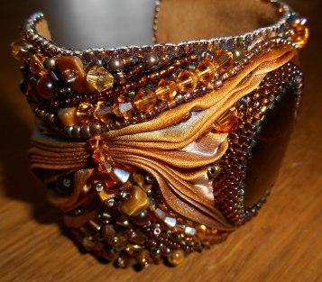 05 Cuff bracelet jewellery jewelry bead embroidery beaded Tiger's Eye gemstone cabochon beads glass crystals Swarovski gold brown bugle beads seed beads silk Shibori Czech brass
