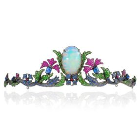 Lydia Courteille Topkapi tiara, set with a magnificent Welo opal alongside sapphires, rubies, spinels and tsavorite garnets in black rhodium