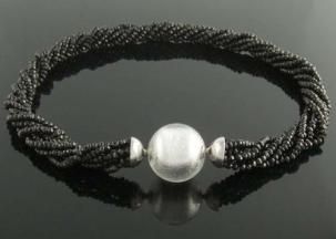 Silver+Murano+glass+ball+clasp+on+black+spinel+multistrand+necklace