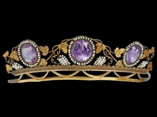 18k gold diadem. Louis Sturm, Stockholm c1816 , three oval faceted amethysts in garland of small oriental pearls, decoration of vine leaves and grape bunches in small oriental pearls