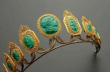 A very early tiara featuring nine malachite cameos, the central one possibly of Alexander the Great, set in gilt.