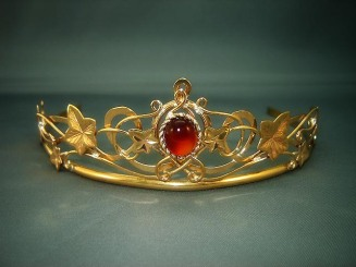 The SilverMoon Ivy tiara made in Brass and red Carnelianmedievalbridalfashions.com